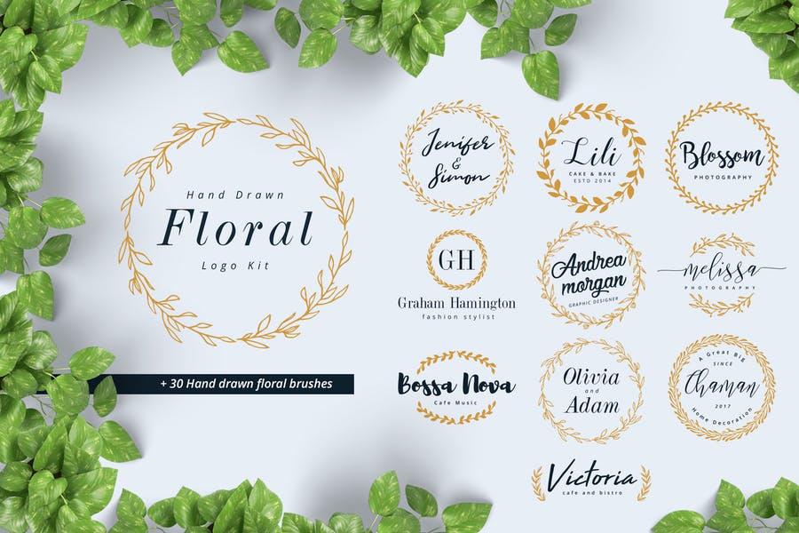 Hand Drawn Floral Logo Designs