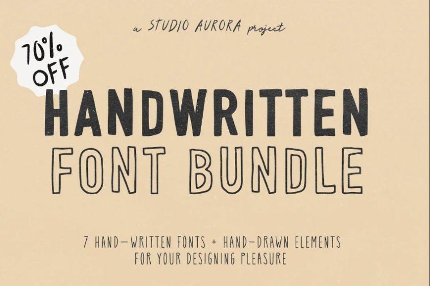 Hand Drawn Vintage Style Font Bundle