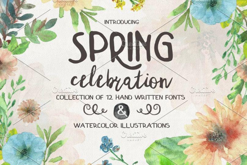 Handwritten Spring Celebrations Typefcae