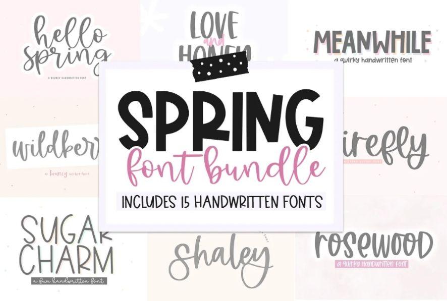Handwritten Spring Fonts Bundle