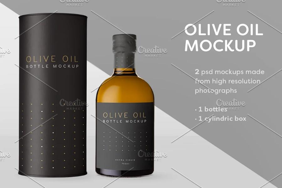 High Resolutiom Olive Oil Bottle Mockup