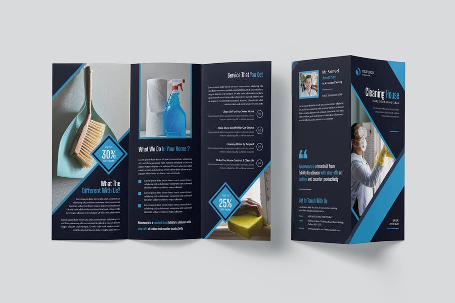 House Cleaning Tri Fold Brochure Template