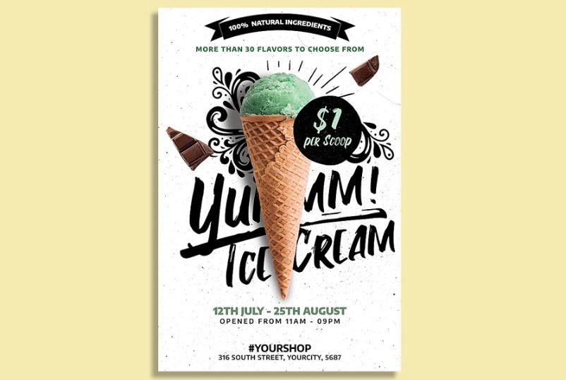 Ice Cream Store Ad Flyer