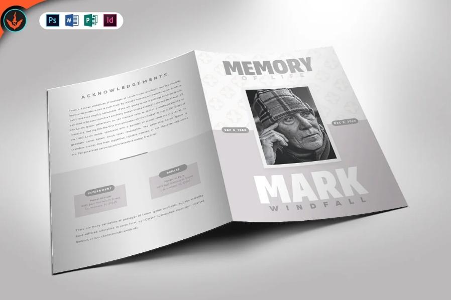 InDesign Funeral Bi Fold Brochure Template
