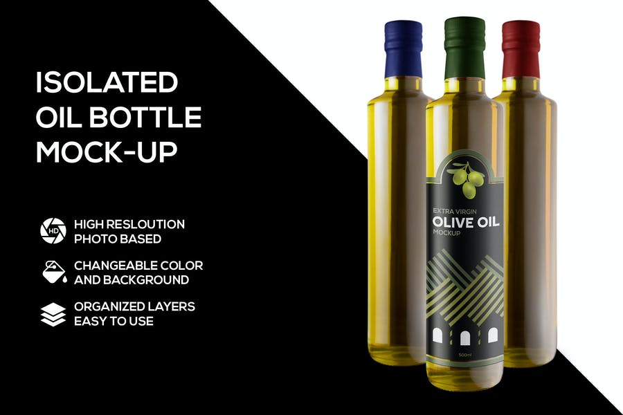 Isolated Olive Oil Mockups