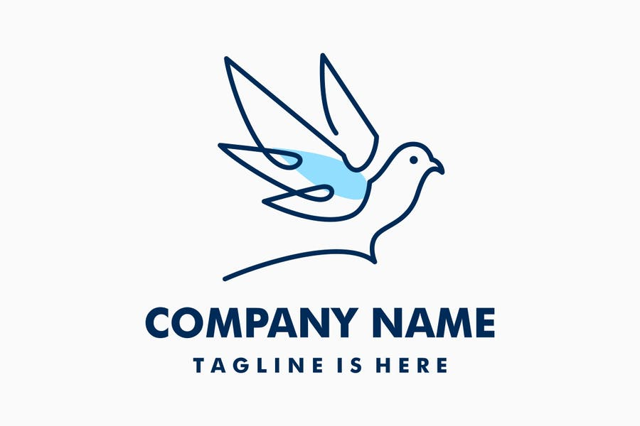 Linear Dove Logo Design