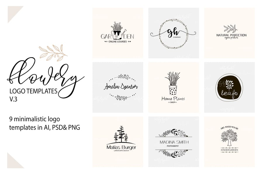 Miniamlist Floral Logo Designs