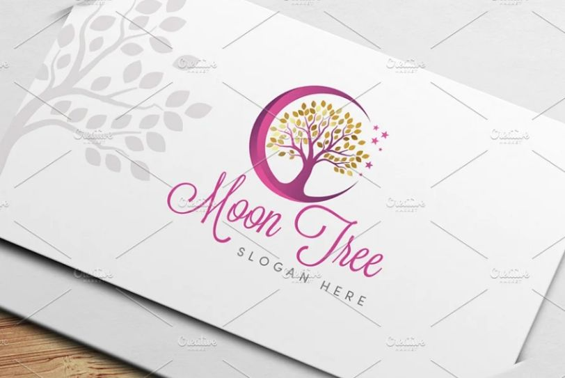 Moon Tree Logo Temlates