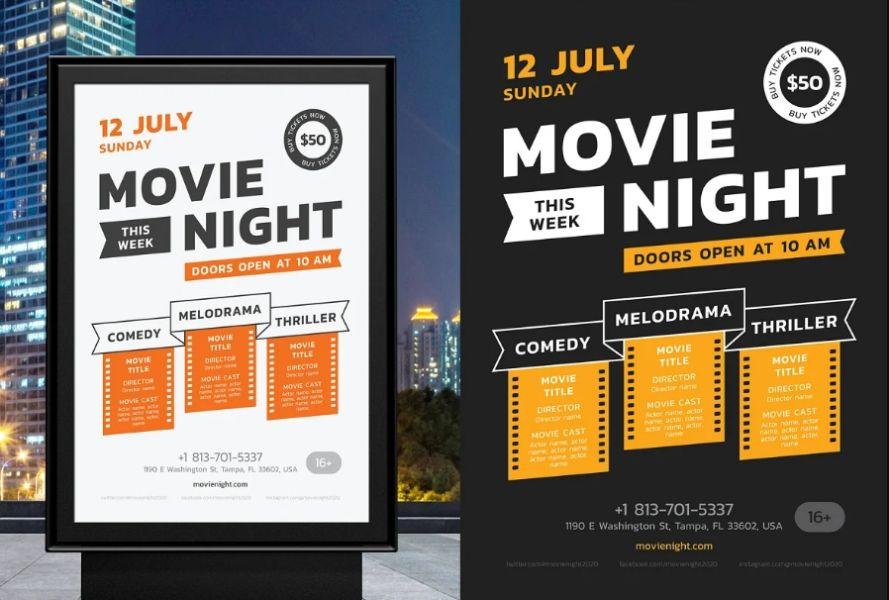 Movie Night Poster Templates