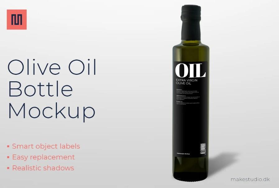 Olive Oil Bottle Branding Mockup
