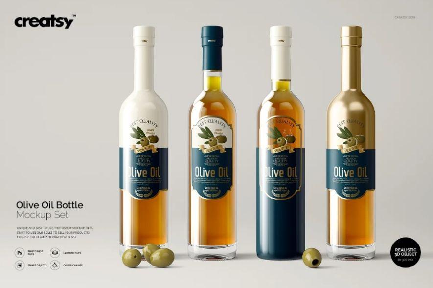 Olive Oil Bottle Label Mockup