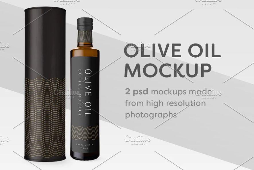 Olive Oil Bottle Packaging Mockup