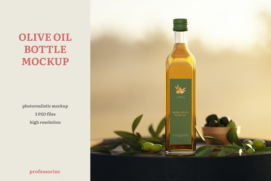 Photorealistic Olive Oil Bottle Mockup
