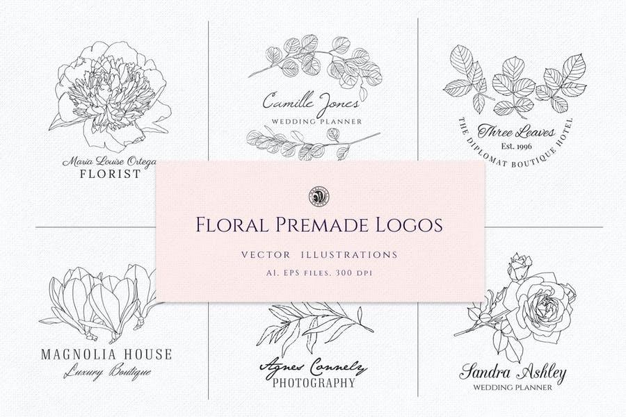Premade Floral Logo Illustrations