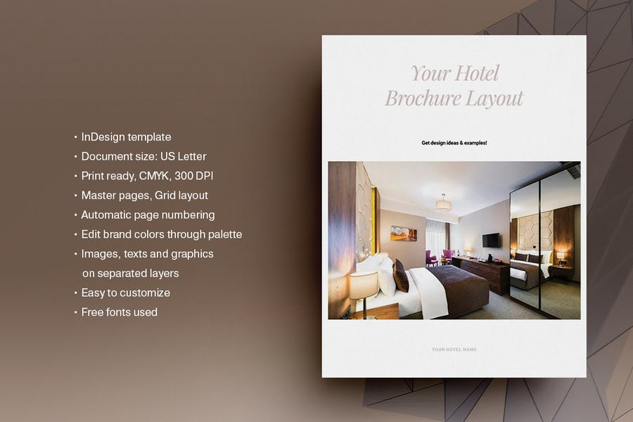 Print Ready Rooms Brochure Template