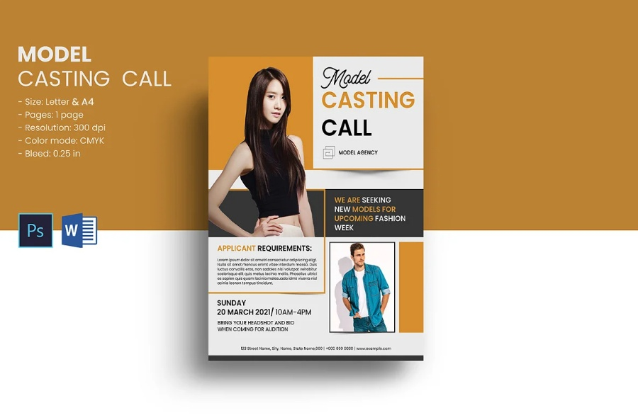 Printable Casting Call Flyer Template