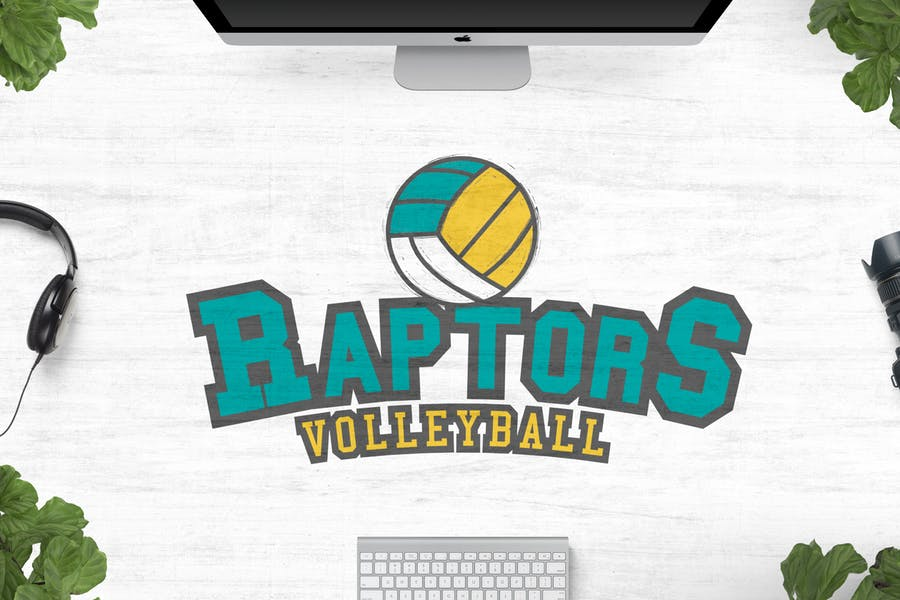 Raptors Volleyball Logo Template