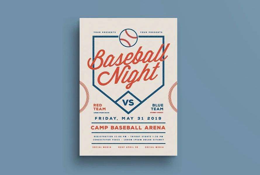 Retro Baseball Night Flyer
