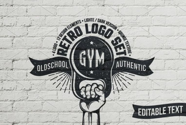 Retro Gym Logo Design Identity