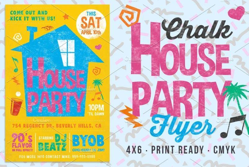 Retro House Party Flyer