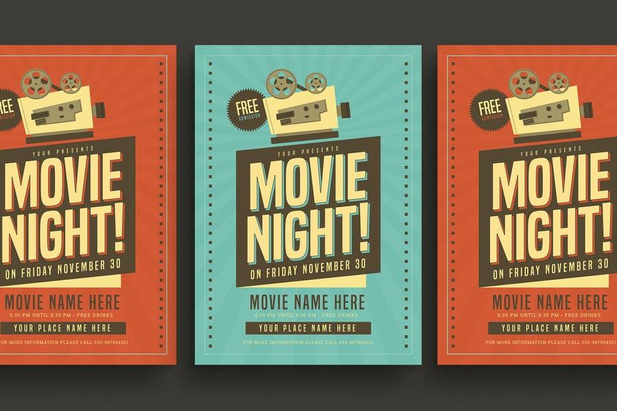 Retro Movie Night Flyers