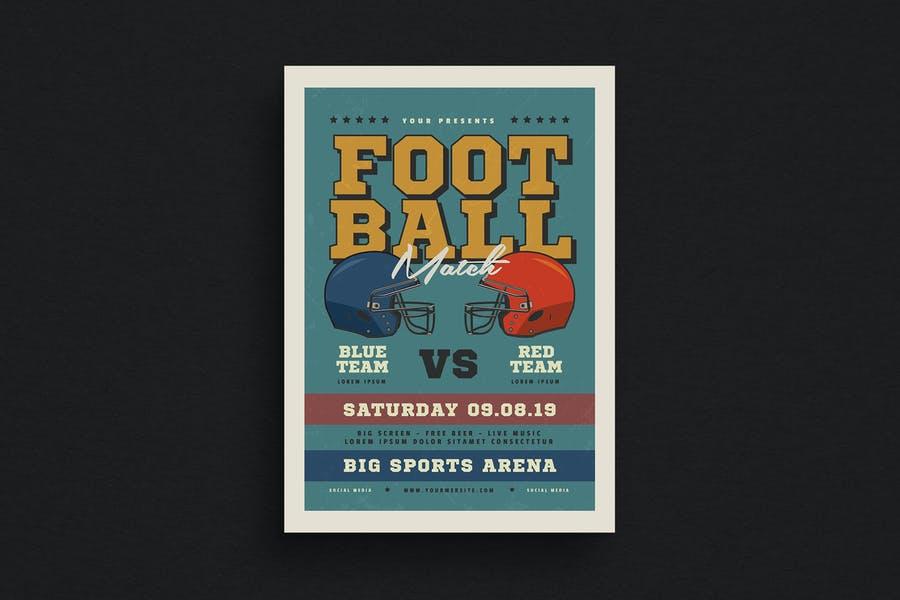 Retro Style Football Match Flyer