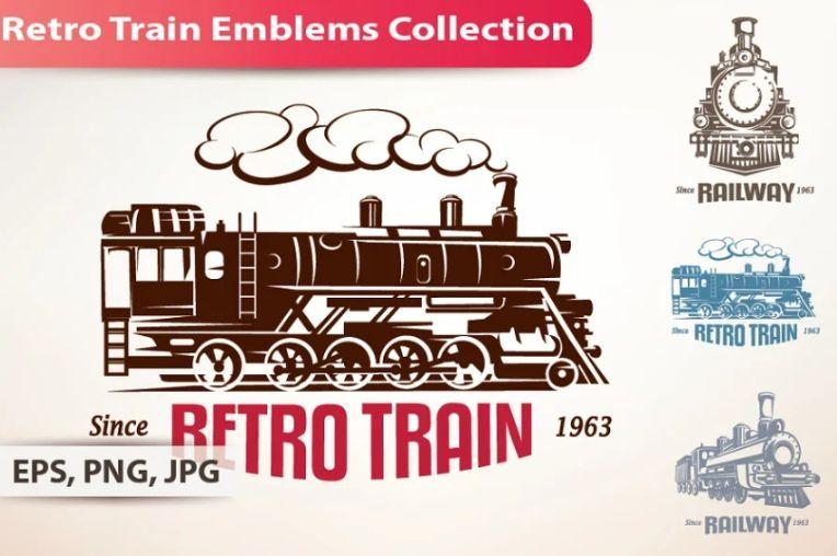Retro Train Emblems Set