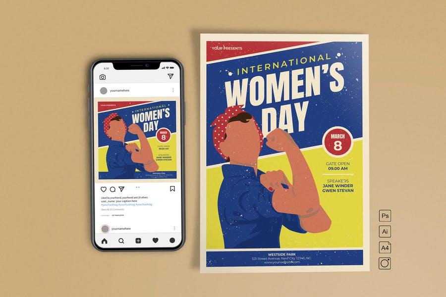Retro Women's Day Flyer