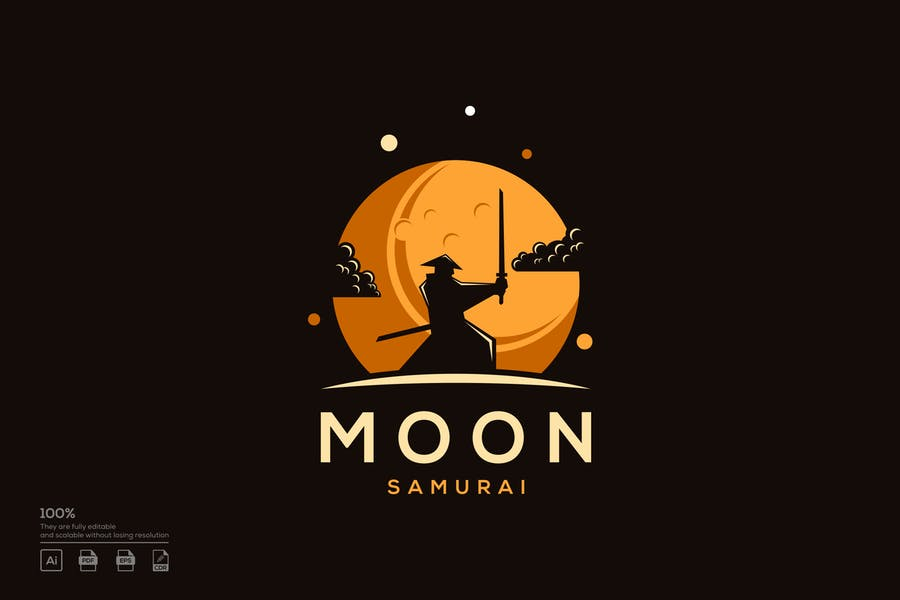 Samurai Moon Logo Template