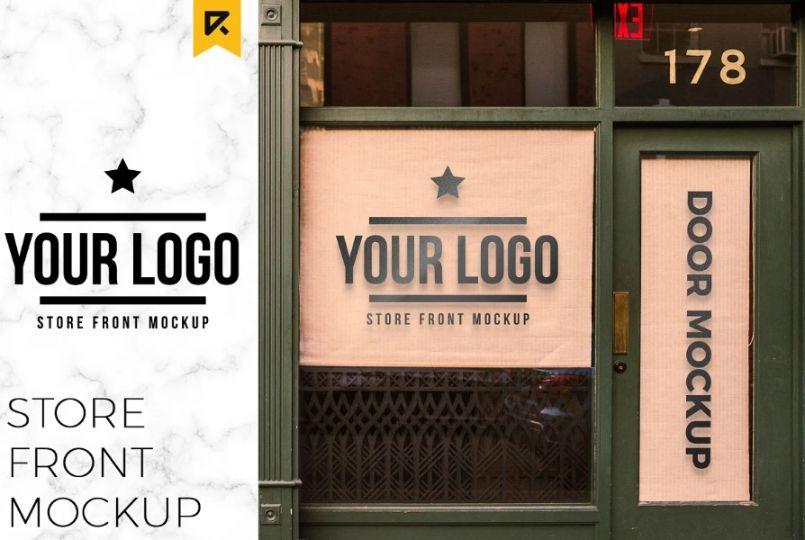 Storefront Sticker Mockup PSD