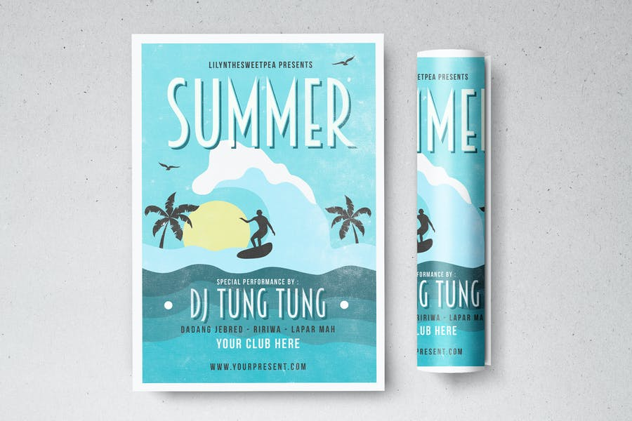 Summer Party Invitation Flyers
