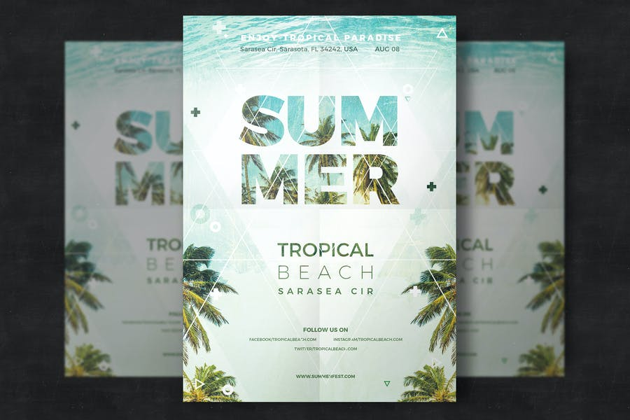 Tropical Beach Flyer Design