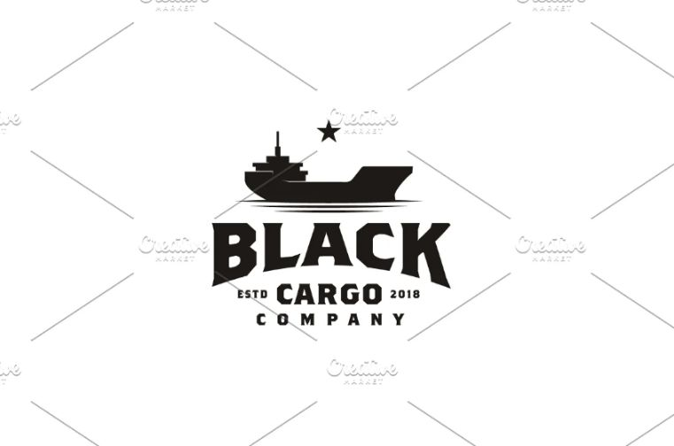 Vintage Cargo Ship Logo Template