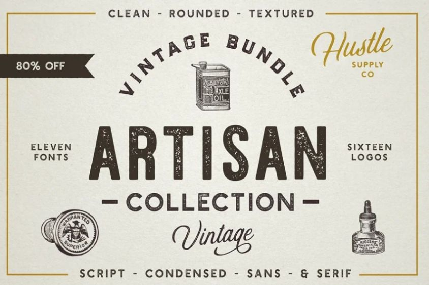 Vintage Letterpess Stamp Fonts