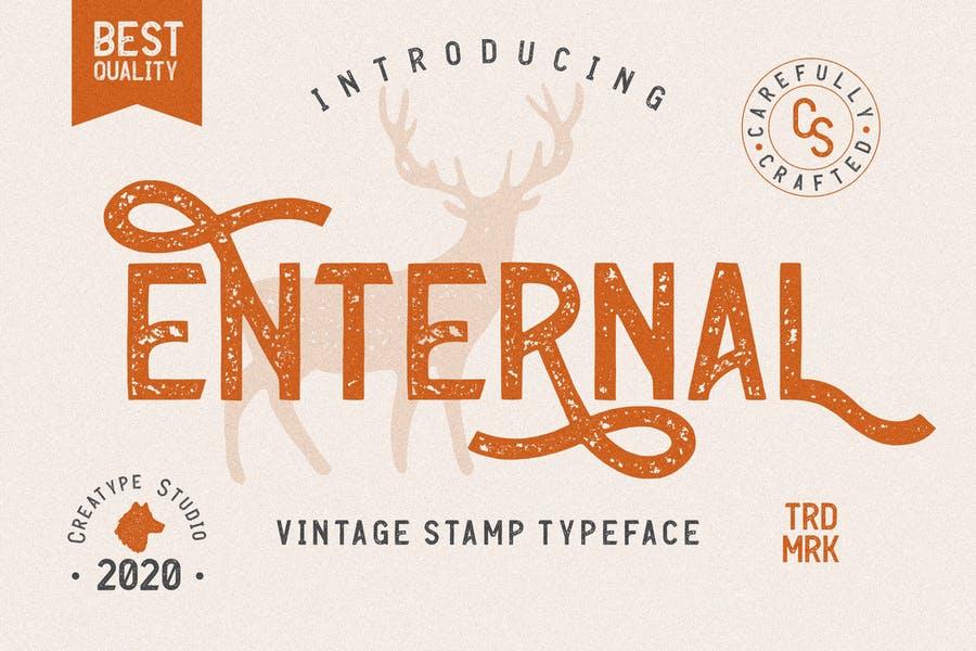 Vintage Stamp Textured Font