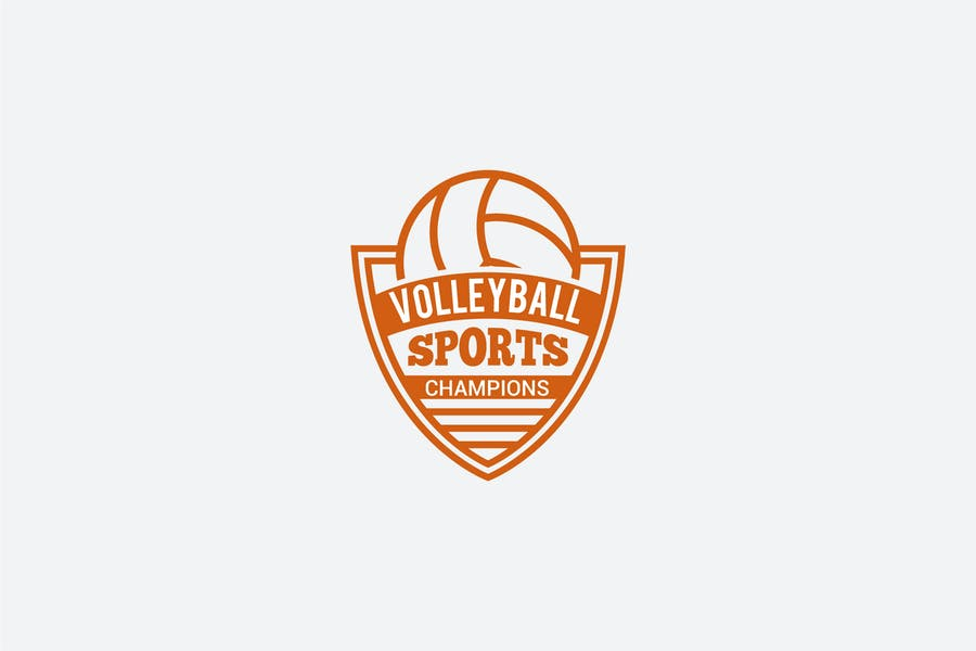 Volleyball Shield Logo Template