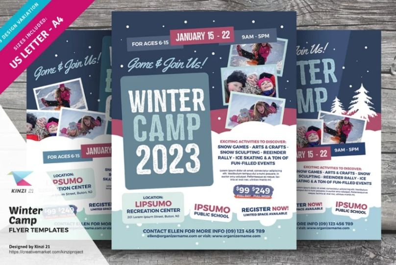 Winter Holiday Camp Flyers
