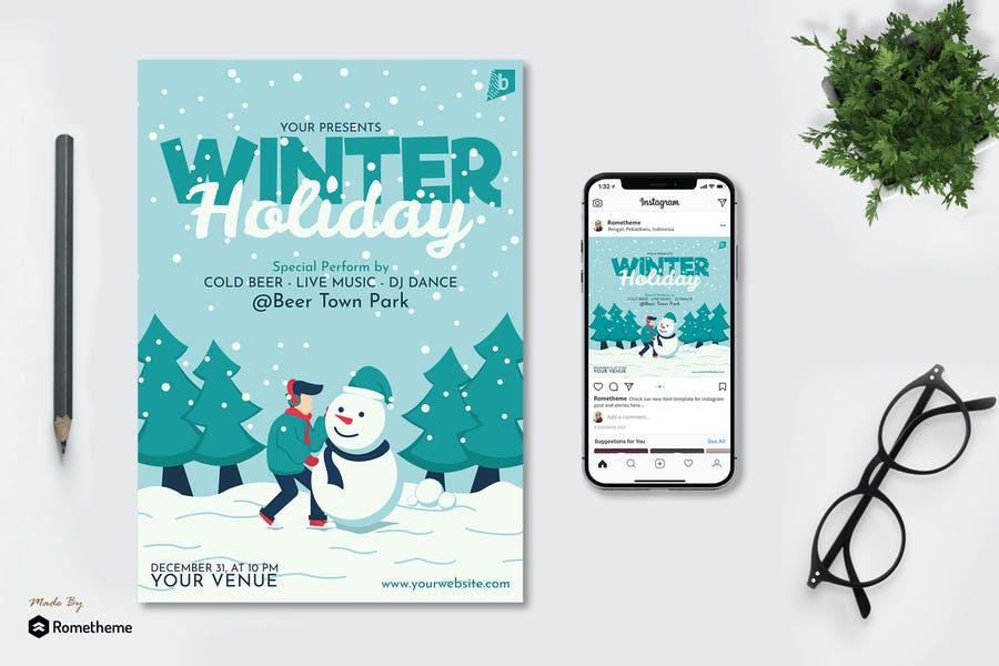 Winter Holiday Flyer and Instagram Post