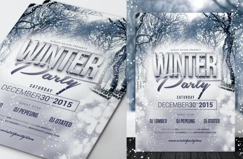 Winter invitation Flyer Designs