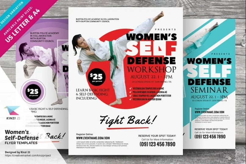 Womens Self Defense Class Ad Template
