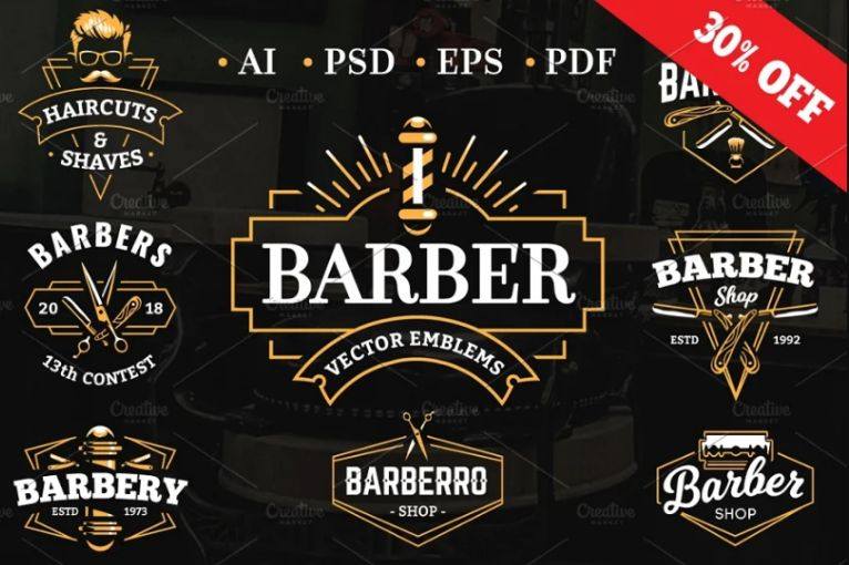 barber Logo Illustrations