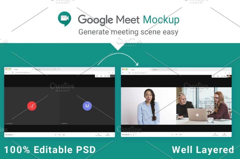 google Meet Mockup PSD