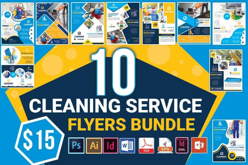 10 Cleaning Services  Flyer Bundle