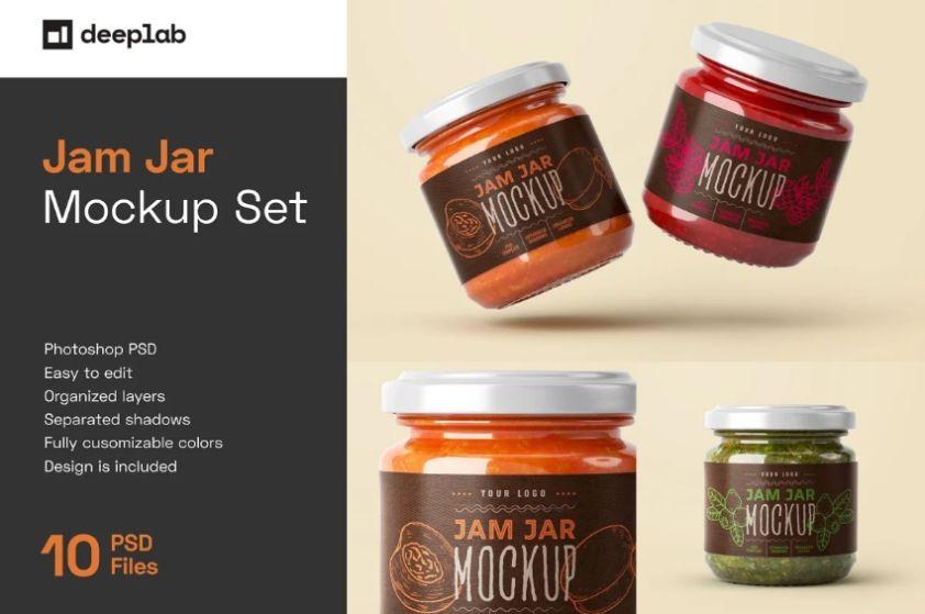 10 Jam Jar Mockup Set