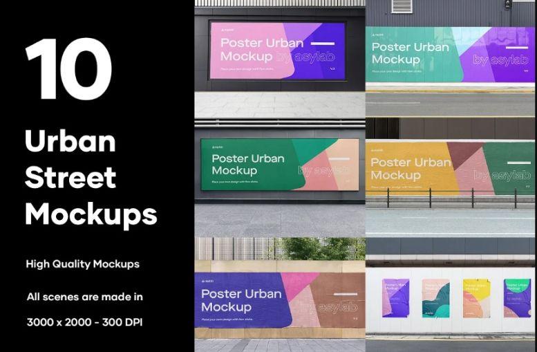 10 Urban Street Mockups PSD