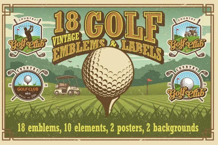 18 Vintage Golf Labels and Badges