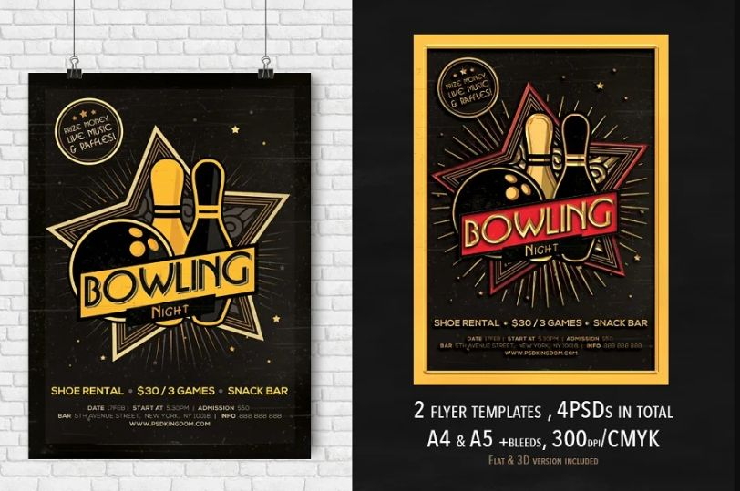 2 Bowling Event Invitation Flyers