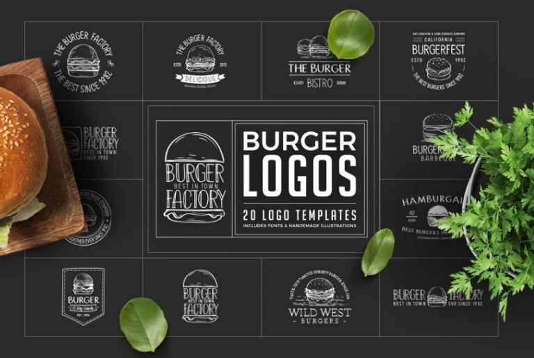 20 Retro Burger Logo Templates