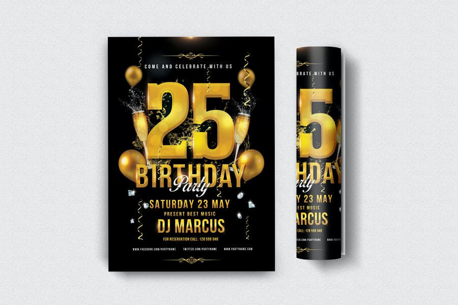 25 Birthday Party Flyers