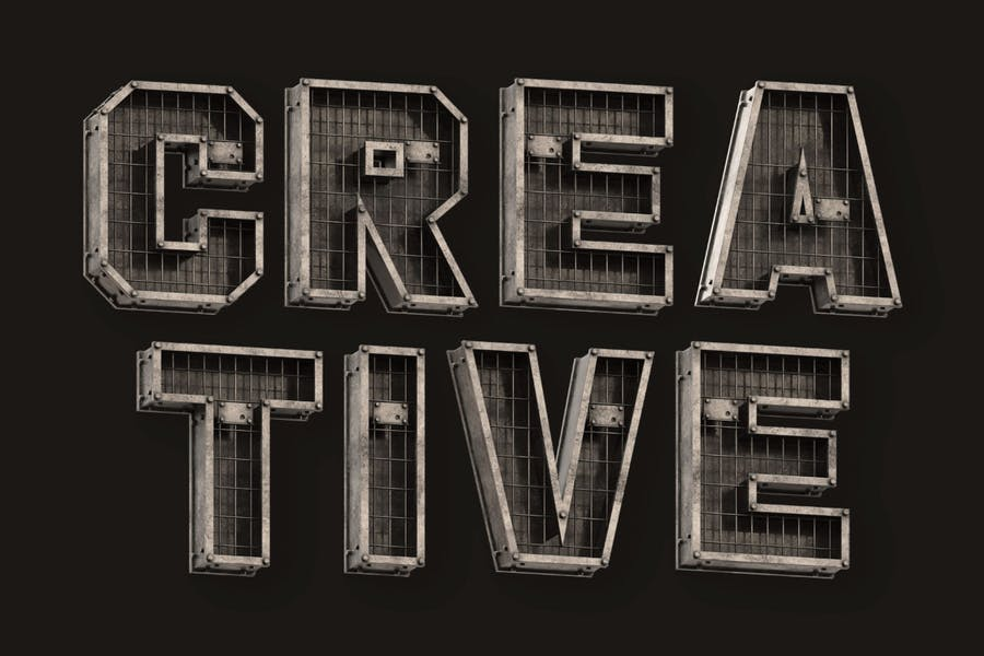 3D Industrial Style Typeface